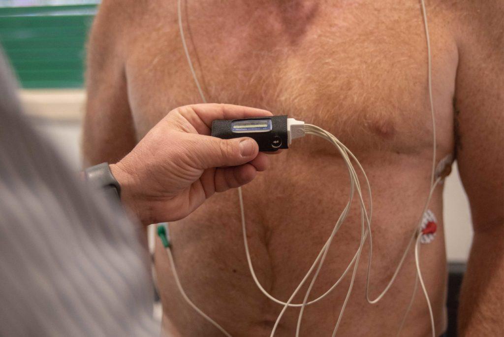 Man doing a Heart Holter Test at a local sleep clinic